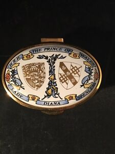 Limited Edition 236 Of 500 Prince Charles Lady Diana Staffordshire Enamel Box