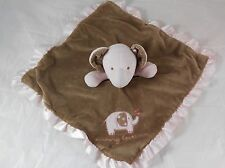 Carters Elephant Lovey Brown Pink Satin Bottom Mommy Loves Me Security Blanket