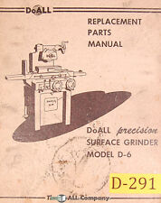 Doall D-6, Surface Grinder, Replacement Parts Manual 1961