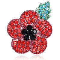 Poppy Vintage Brooch Red Crystal Flower Badge Pins Poppies Broach Jewelry RSK