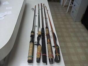 LOT# 102    FIVE USED 2 PIECE FISHING POLES     NICE