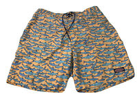 Vineyard Vines Mens Large Orange With Blue Fish Print Board Shorts GUC