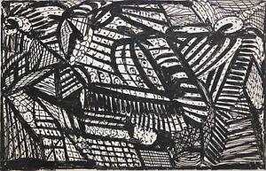 MADGE GILL-British Modernist-Original Ink on Postcard-Black/White Abstract-1930