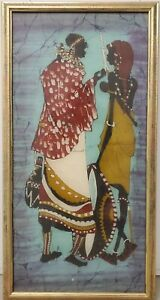 African Batik art 2 Women Original In Frame 1970s
