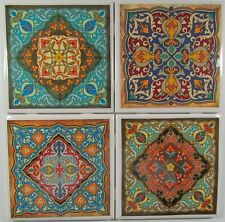Set of 4 - Handmade Natural Ceramic Tile/Stone Drink Coasters - Moroccan 2 -A