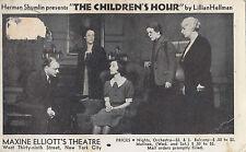 "Stamp USA 1c green on 1936 postcard Herman Shumlin ""The Children's Hour"" theatre"