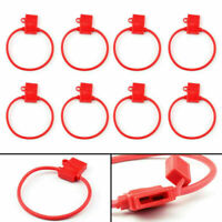 8Pcs Medium Blade Fuse Holder ATC ATO Waterproof 10AWG In-Line Wire Red CA