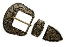 """Belt Buckle Set Fits 1-1/2"""" Belt Western Cowboy Brass Floral Engraved Rope Edge"""