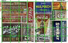 NH012 1/2 Set N SCALE GHOST SIGNS SODA TOBACCO BEER AUTOMOTIVE CAFE DAVE'S DECAL