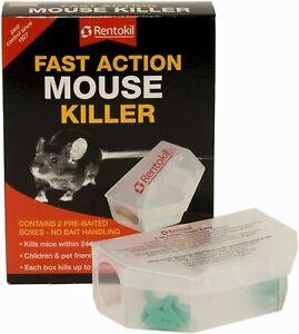 Rentokil Fast Action Mouse Killer Poison Trap Bait Box 2 Pk Kills up to 100 Mice