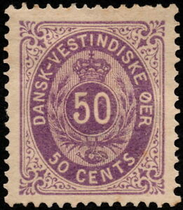 Danish West Indies - 1874 - 50 Cents Gray Violet Numeral of Value # 13a Mint VF