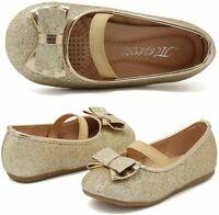 CIOR Toddler Girls Ballet Flats Shoes Ballerina Bowknot Jane, Gold, Size 9.0 ztg
