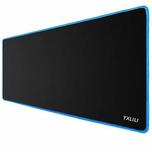 """Large Gaming Mouse Pad Non-Slip Base Waterproof Black With A Blue Edge 31.5""""x12"""""""