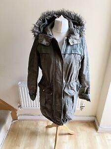 Whistles Green Parka Coat Size 10 Khaki Fur Hood