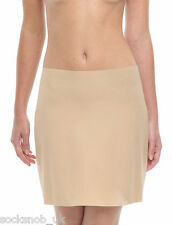 "Womens slinky half waist slip, petticoat, 19"" length, Black or Natural (2 Pack)"