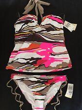 NWT TRINA TURK Multi-Color Two Piece Swim Swimsuit Bikini Tankini size L RETAIL