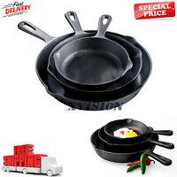 Pre-seasoned Cast Iron 3 Piece Skillet Set Stove Oven Fry Pans Pots Cookware NEW