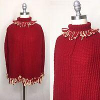 Vintage 60s Knit Turtleneck Poncho Small