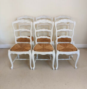 Superb Quality Set of 6 Old French LXV Chairs with rush seats