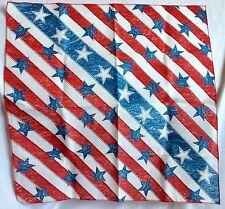 Patriotic Stars & Stripes Bandana July 4th USA Kerchief Red White Blue