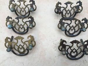 Set of 6 Antique Style Brass Handles