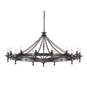 Medieval Gothic Style Black Hand Crafted Chandelier 12 light  FREE LED CANDLES