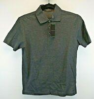 Joseph Abboud Short Sleeve Men's Small Polo Shirt Dark Gray Textured Feel NWT