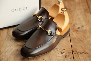 Gucci Brown Calf Leather New Princetown Mules Loafer Shoes Men's UK 7 US 8 EU 41
