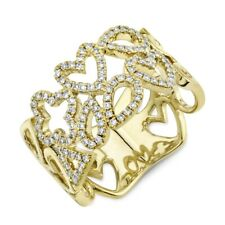 Multi Shape Diamond Ring 14K Yellow Gold Statement Wide Cocktail Right Hand