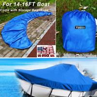 14-16FT Tri-Hull Trailerable Fish Ski Boat Cover+Storage Bag+Rope  Waterproof US