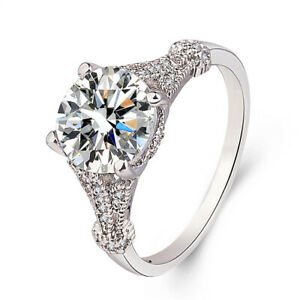 Fashion Women Silver Rings Round Sapphire Wedding Engagement Ring Size 8