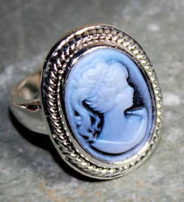 SILVER Vintage Style Blue Cameo Beauty Girl Cameo Ring Size 10, WR10704