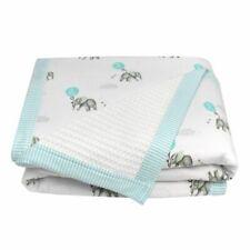 Living Textiles Elephant Cot Waffle Blanket Aqua