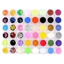 48 Colors Nail Art Glitter Powder Dust For UV Gel Acrylic Decoration Set Tips