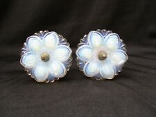 Pair of Antique White Opalescent Pressed Glass Victorian Style Curtain Tie Backs