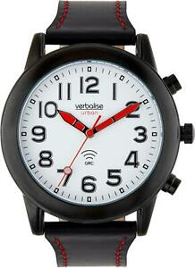 Verbalise Mens Talking Watch with Black Leather Pin and Tuck Strap VMRC-101LBK