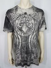 Affliction gray black Day of Reckoning Fedor vs Arlovski SS t-shirt mens 3X XXXL