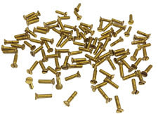 """BAG OF 100   1/4-20 X 1"""" SLOTTED FLAT HEAD MACHINE SCREW SOLID BRASS"""