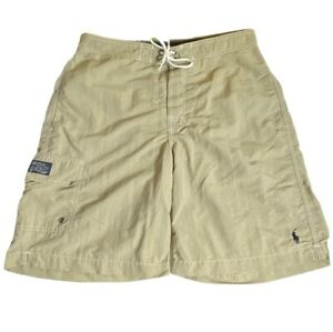 Mens Small Polo Ralph Lauren Tan New York Swimwear Trunks with pockets and lined