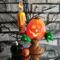 Vintage Pumpkin Candelabra Light 1996 Flickering Flame Bulb Suction Cups