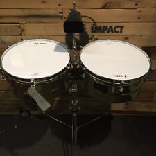 """Tycoon Percussion - 14"""" & 15"""" Brass Coated Timbales w/ Stand, Cowbell and Sticks"""