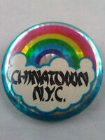 Vtg CHINATOWN NYC Rainbow New York City pin button pinback **ee1