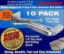 "Gutter Hangers 5"" 5 inch 10 QuickScrew Rain Bracket Hidden Clip Style with screw"