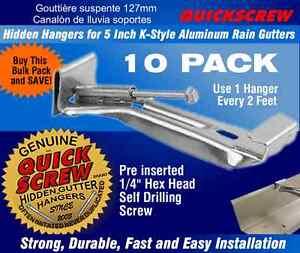 "Gutter Hangers 5"" 5 inch 10 QuickScrew Rain Bracket Hidden Clip Style with screw"