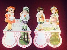 "Vintage Victorian Die Cut Valentine Girls Hearts Friends 7 1/2 x 5"" Fold Cards"