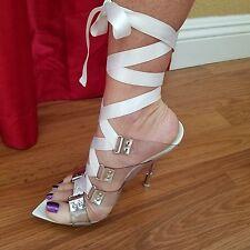 Gianmarco Lorenzi White Shoes Satin Lucite Laces Stiletto Platform Heels EU 36 6