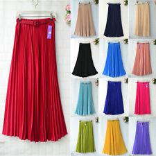 New Women Pleated Retro Elastic WaistBand Belt Chiffon Long Full Skirt