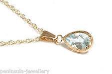 9ct Gold Blue Topaz Teardrop Pendant and Chain Gift Boxed Necklace Made in UK