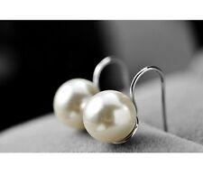 Clásico Pendientes de perlas colgantes Plata Chapado nácar blanco