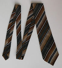 Vintage 1970s tie St Michael green brown striped acrylic mix traditional classic